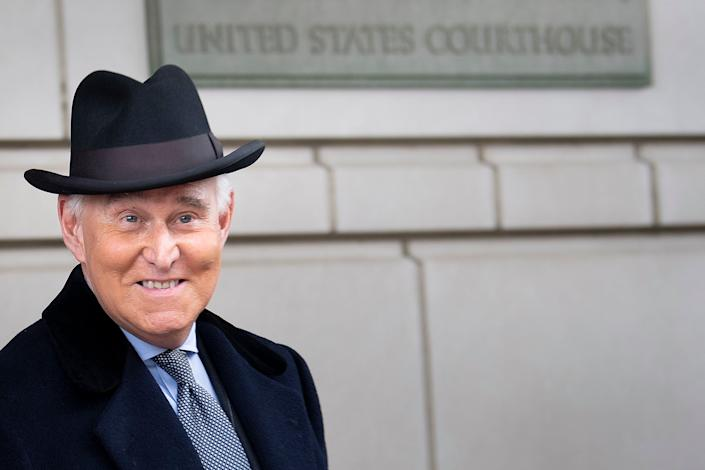 Roger Stone leaves federal court after a sentencing hearing on Feb. 20 in Washington, D.C. (Photo: BRENDAN SMIALOWSKI via Getty Images)