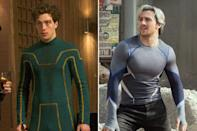<p>After playing the skinny wannabe hero Dave Lizewski in 'Kick-Ass' Aaron packed on 15lbs for the sequel, but his transformation for Marvel's 'Age of Ultron' makes him look twice the size he used to be.<br></p>