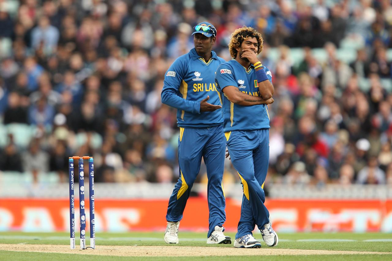 Sri Lanka's Lasith Malinga reacts during the ICC Champions Trophy match at The Kia Oval, London.