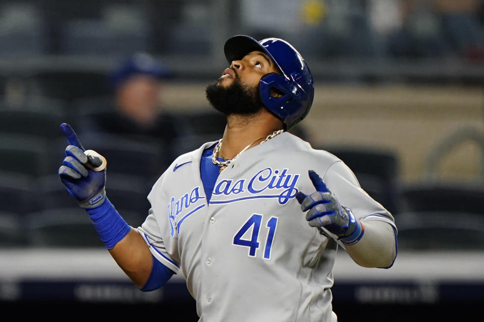 Kansas City Royals Carlos Santana (41) reacts crossing the plate after hitting a solo home run off New York Yankees relief pitcher Zack Britton during the eighth inning of a baseball game, Wednesday, June 23, 2021, at Yankee Stadium in New York. (AP Photo/Kathy Willens)