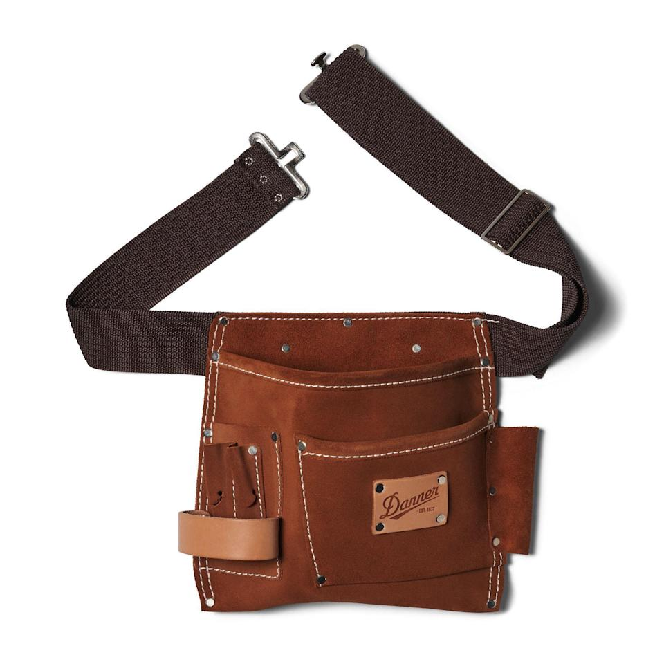 """<p><strong>Danner</strong></p><p>danner.com</p><p><strong>$65.00</strong></p><p><a href=""""https://www.danner.com/men/accessories/leather-tool-belt.html"""" rel=""""nofollow noopener"""" target=""""_blank"""" data-ylk=""""slk:BUY NOW"""" class=""""link rapid-noclick-resp"""">BUY NOW</a></p><p>Those DIY home improvement projects just got a lot easier to manage with Danner's tool belt. The special man in your life will be able to reach down and easily grab his wrench, screwdriver, scissors, and even a small leveler and not worry about misplacing them while on the job. Made from thick suede and leather, this item will be a hardy belt to carry through many projects.</p>"""