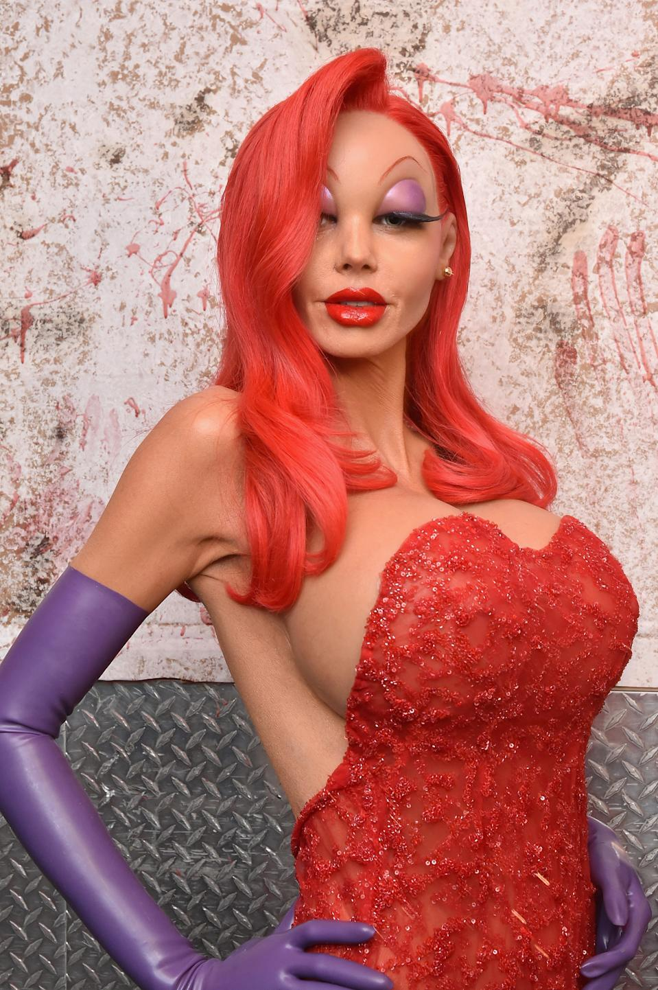 """<strong>Heidi Klum as Jessica Rabbit</strong><br><br>It took nine hours for Heidi Klum to complete her full-body transformation into Jessica Rabbit for her 2015 Halloween party. She uploaded a<a href=""""https://www.instagram.com/p/9gn0Crj1dv/"""" rel=""""nofollow noopener"""" target=""""_blank"""" data-ylk=""""slk:detailed video"""" class=""""link rapid-noclick-resp""""> detailed video </a>that showed each step of the process, including applying a rubber mask and rubber chest."""