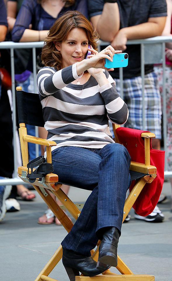 "The next day, Morgan's TV co-star Tina Fey also decided to photograph herself , maybe to prove to whoever she was talking to, that she was indeed back on the ""30 Rock"" set. (8/28/2012)"