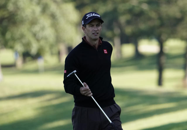 Adam Scott of Australia walks on the 9th hole during the pro-am event of the Zozo Championship PGA Tour at Accordia Golf Narashino C.C. in Inzai, east of Tokyo, Japan, Wednesday, Oct. 23, 2019. (AP Photo/Lee Jin-man)