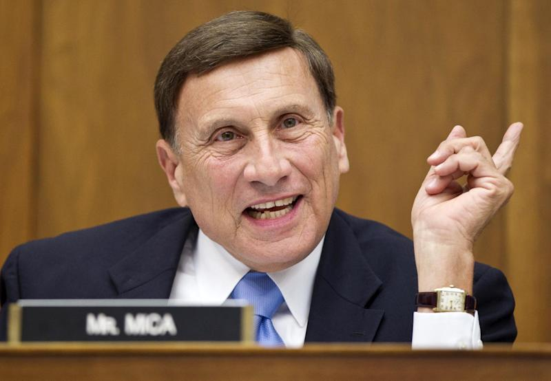 FILE - In this April 17, 2012, file photo, House Transportation Committee Chairman Rep. John Mica, R-Fla. speaks on Capitol Hill in Washington. No district illustrates the 2012 version of GOP fratricide better than the Mica-Adams race in Florida, a mean, fierce fight between two Republican lawmakers who ended up in the same district because of the census-driven decennial redrawing of state maps.  (AP Photo/J. Scott Applewhite, File)