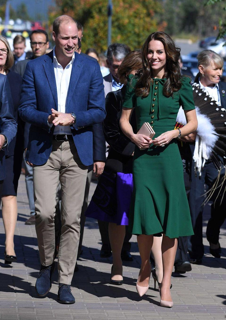 <p>Duchess Kate wore a green Dolce & Gabbana dress while visiting Kelowna, British Columbia.</p>
