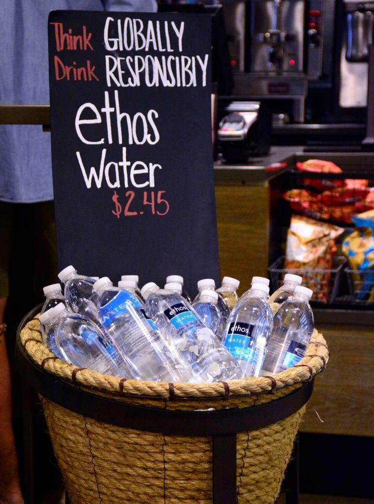 <p>Starbucks acquired Ethos Water in 2005, an ethically- and socially-conscious water brand, which aligned with the company's high ethical standards and goal to give back as much as it makes. </p>