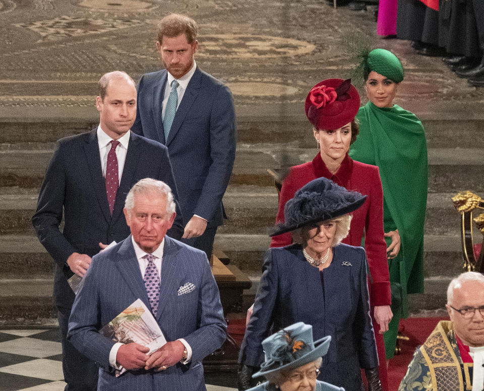 Prince William, Duke of Cambridge, Catherine, Duchess of Cambridge, Prince Harry, Duke of Sussex, Meghan, Duchess of Sussex, Prince Charles, Prince of Wales and Camilla, Duchess of Cornwall attend the Commonwealth Day Service 2020 on March 9, 2020 in London, England