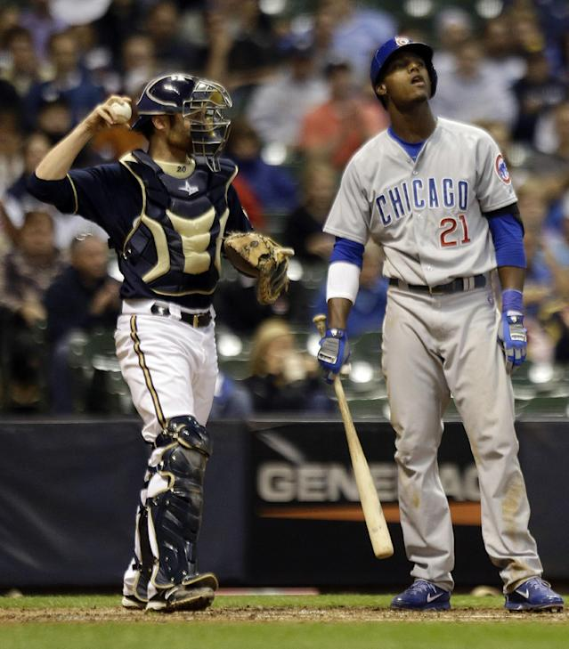 Chicago Cubs' Junior Lake (21) reacts after striking during the eighth inning of a baseball game against the Milwaukee Brewers, Tuesday, Sept. 17, 2013, in Milwaukee. (AP Photo/Morry Gash)