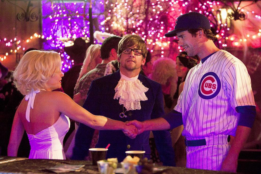 "Elisha Cuthbert as Alex, Zachary Knighton as Dave, and David Walton in the Halloween episode ""Spooky Endings"" of ""Happy Endings."""