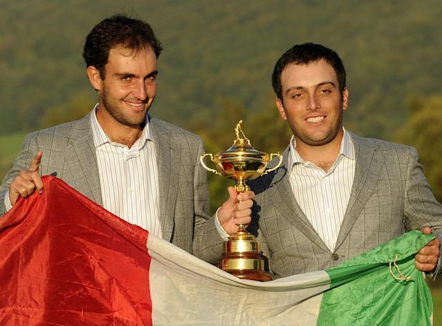 "<h1 class=""title"">Edoardo and Francesco Molinari</h1> <div class=""caption""> Edoardo ( <em>left</em>) and Francesco Molinari celebrate the one-point European Ryder Cup win in 2010 at Celtic Manor. </div> <cite class=""credit"">ADRIAN DENNIS</cite>"