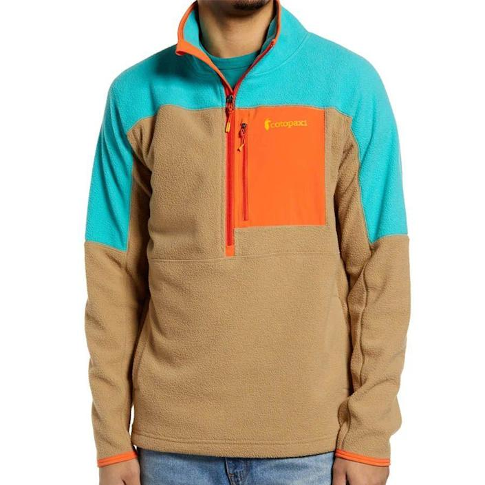 """<p><strong>COTOPAXI</strong></p><p>nordstrom.com</p><p><strong>$100.00</strong></p><p><a href=""""https://go.redirectingat.com?id=74968X1596630&url=https%3A%2F%2Fwww.nordstrom.com%2Fs%2Fcotopaxi-dorado-colorblock-half-zip-fleece-pullover%2F5855772&sref=https%3A%2F%2Fwww.menshealth.com%2Fstyle%2Fg26014395%2Fbest-spring-jackets-men%2F"""" rel=""""nofollow noopener"""" target=""""_blank"""" data-ylk=""""slk:BUY IT HERE"""" class=""""link rapid-noclick-resp"""">BUY IT HERE</a></p><p>Did we mention color is trending? Pairing bright shades with comfies like this recycled fleece make us one happy camper. After all, nothing says spring like happy, saturated hues.</p>"""