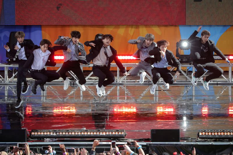FILE PHOTO: Members of K-Pop band BTS perform on ABC's 'Good Morning America' show in Central Park in New York
