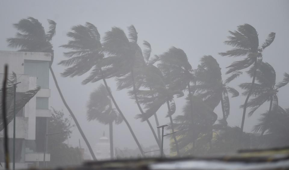 Strong winds ahead of the landfall of Cyclone Nivar, in Kovalam, Wednesday,