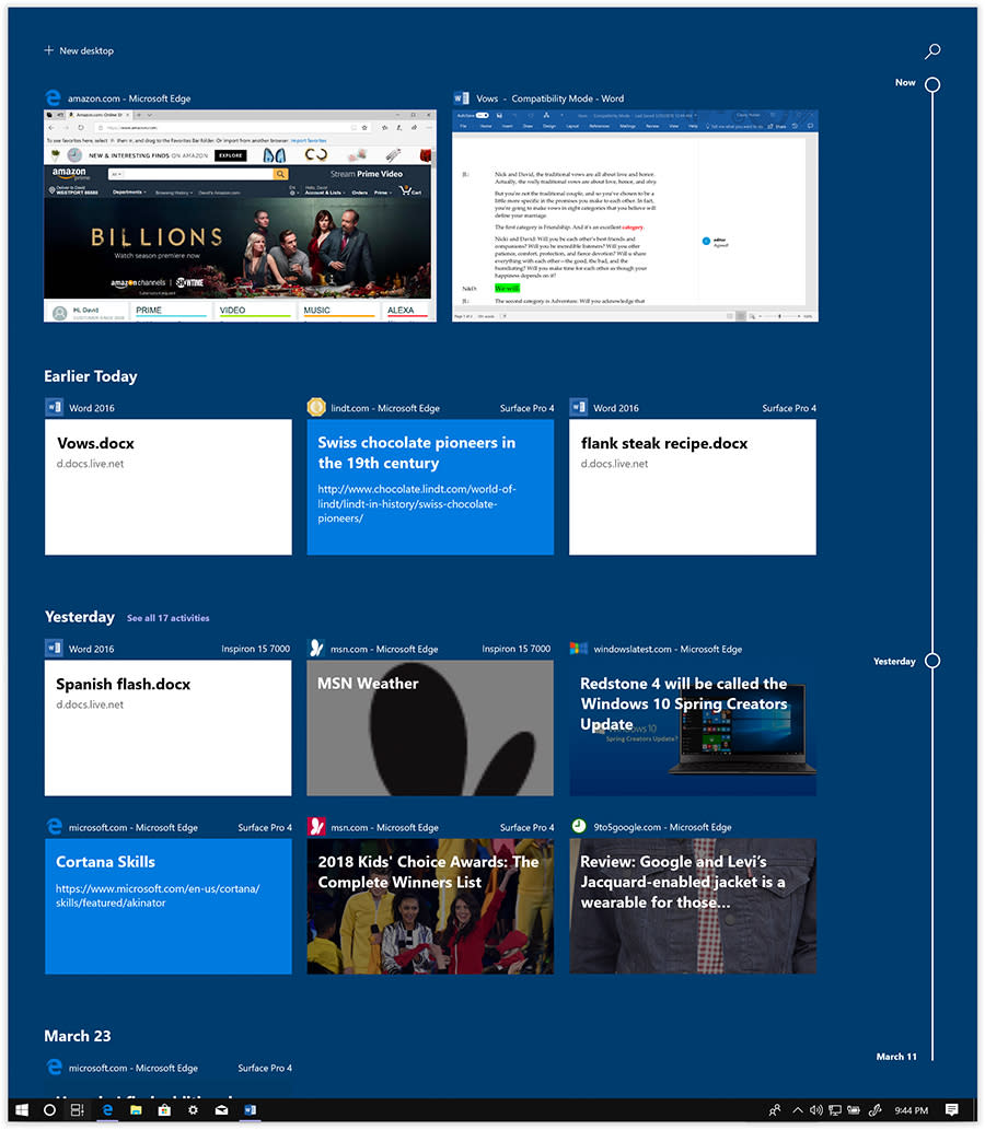 Timeline is a 30-day record of every Microsoft document or webpage you've had open.