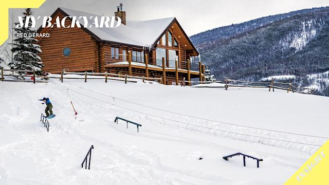 <p>The Gerard brothers built a terrain park in their backyard so the snowboarder would have year-around access to snowboarding. (Photo via TransWorld SNOWboarding Magazine) </p>