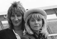 <p>Rod Stewart with his wife, actress Britt Ekland, at Southampton after arriving aboard the QE2 in 1977.</p>
