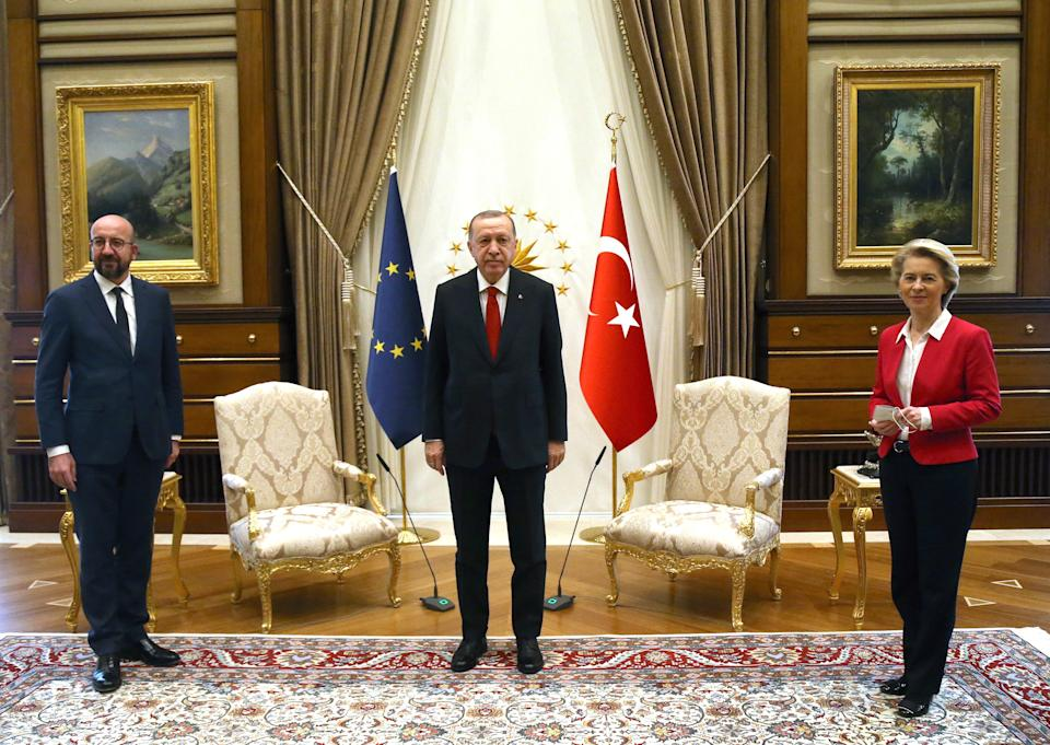 ANKARA, April 6, 2021 -- Turkish President Recep Tayyip Erdogan C meets with European Council President Charles Michel L and European Commission President Ursula von der Leyen in Ankara, Turkey, on April 6, 2021. Top officials of the European Union on Tuesday expressed readiness to work on concrete agenda with Turkey to push forward economy and migration cooperation between the two sides. (Photo by Mustafa Kaya/Xinhua via Getty) (Xinhua/Mustafa Kaya via Getty Images)