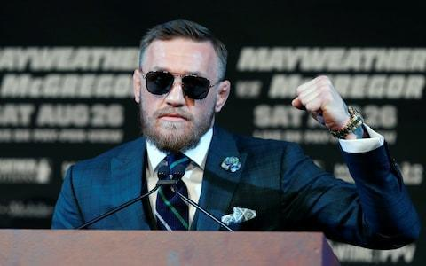 <span>Conor McGregor makes a fist during a news conference in Las Vegas</span> <span>Credit: Reuters&nbsp; </span>