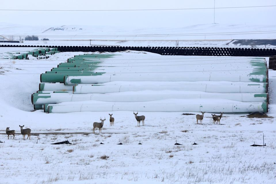 A depot used to store pipes for TC Energy Corp's planned Keystone XL oil pipeline is seen in Gascoyne, North Dakota, January 25, 2017 (REUTERS)