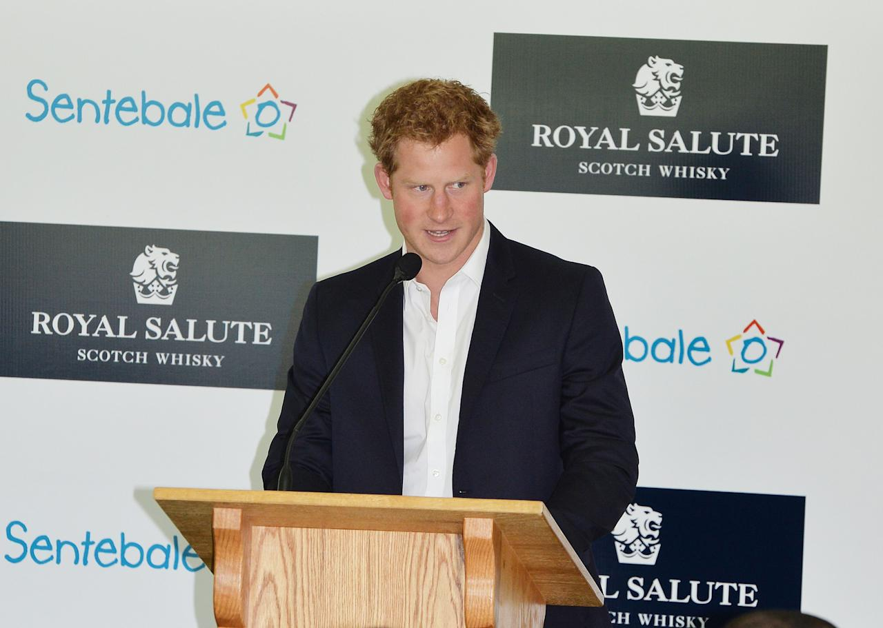 Prince Harry speaks at the Greenwich Polo Club, Connecticut, USA, prior to the Sentebale Royal Salute Polo Cup, as part of his tour of the USA.