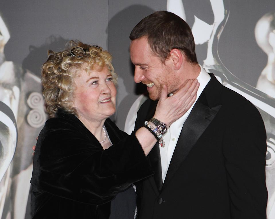 DUBLIN, IRELAND - FEBRUARY 11: Brenda Fricker and Michael Fassbender arrive at Annual Irish Film & Television Awards (IFTA) at Convention Centre Dublin on February 11, 2012 in Dublin, Ireland.  (Photo by Phillip Massey/WireImage)
