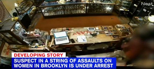 PHOTO: Surveillance video shows man attacking woman at smoke shop in Brooklyn. Khari Covington, 29, has been charged with seven counts for attacks to women in the subway system and two counts of attempted robberies outside the subway. (ABC News)