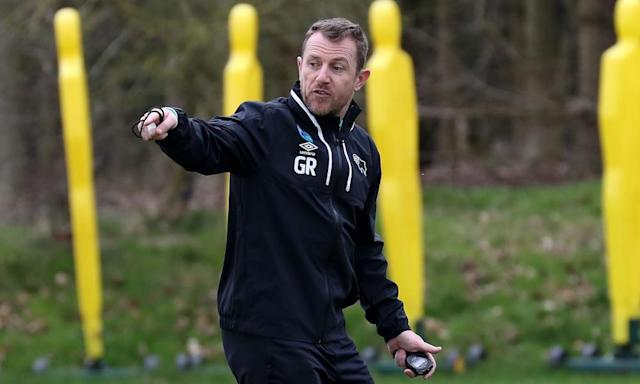 """<span class=""""element-image__caption"""">Gary Rowett takes his first training session at Derby County knowing he may not have long at Pride Park.</span> <span class=""""element-image__credit"""">Photograph: Andy Clarke/Rex/Shutterstock</span>"""