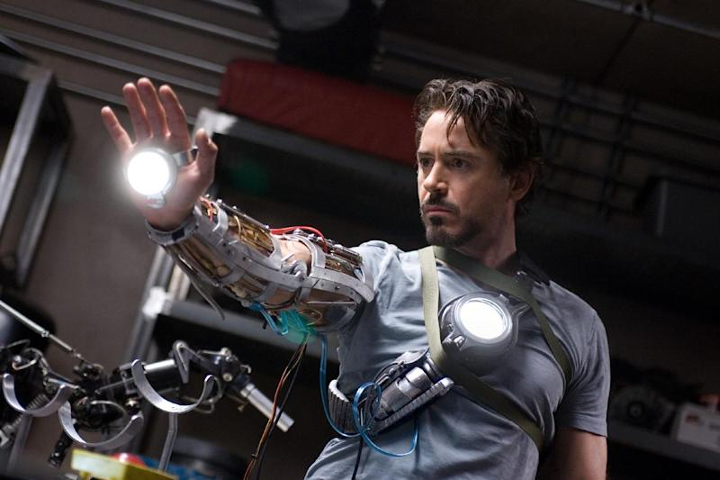 "In this image released by Paramount Pictures, Robert Downey Jr. stars as billionaire industrialist Tony Stark aka Iron Man in ""Iron Man.""  (AP Photo/Paramount Pictures, Zade Rosenthal)"