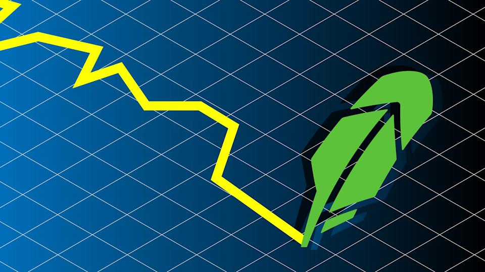 jagged line written by robinhood quill logo on graph background