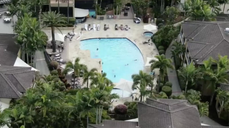 A pool in a resort where the AFL players and their families are quarantining.