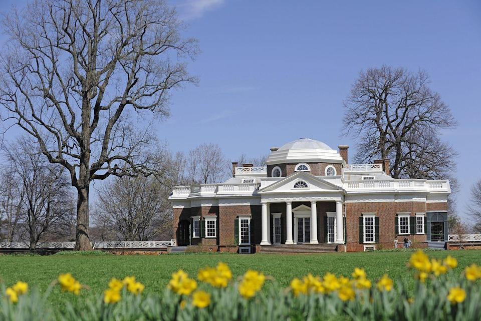 """<p>At just 26 years old, future President Thomas Jefferson inherited a plantation in rural Virginia. An architecture enthusiast, Jefferson himself devised a combination of Neoclassical and Palladian architecture for the estate that would come to be known as Monticello. It is now a National Historic Landmark, and, along with the University of Virginia—which was also one of Jefferson's designs—a UNESCO World Heritage Site. If Monticello looks familiar to you, it's probably because it's on the reserve side of the nickel.</p><p><a class=""""link rapid-noclick-resp"""" href=""""https://www.monticello.org/house-gardens/virtual-tours-of-monticello/"""" rel=""""nofollow noopener"""" target=""""_blank"""" data-ylk=""""slk:TOUR NOW"""">TOUR NOW</a></p>"""