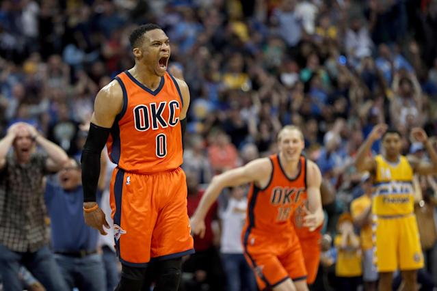 "<a class=""link rapid-noclick-resp"" href=""/nba/players/4390/"" data-ylk=""slk:Russell Westbrook"">Russell Westbrook</a>'s game-winner against the Nuggets in April was spectacular. (Photo by Matthew Stockman/Getty Images)"
