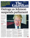 """More """"outrage"""" from The Guardian, who called Mr Johnson's step """"an act of wanton constitutional vandalism"""" and said it was undoubtedly a device to silence parliament before the October 31 Brexit deadline. (Twitter)"""