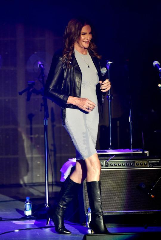 <p>Making a surprise appearance at Culture Club's performance at the Greek Theatre on July 24, 2015 in Los Angeles, Calif., Jenner wore a gray dress with a leather jacket and knee-high leather boots. She received a standing ovation. Whether it was for her outfit or bravery, remains to be seen.</p>