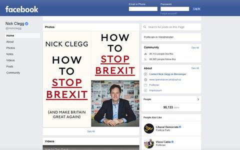 An archive of Nick Clegg's Facebook page from April 2018, showing publicity for his book 'How to Stop Brexit' - Credit: Facebook/Telegraph