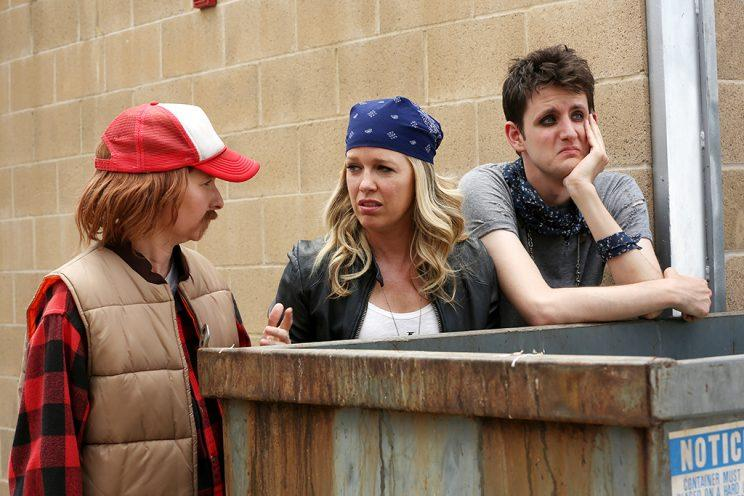 Lennon Parham, Jessica St. Clair and Woods on 'Playing House' (Photo: Michael Yarish/USA Network)