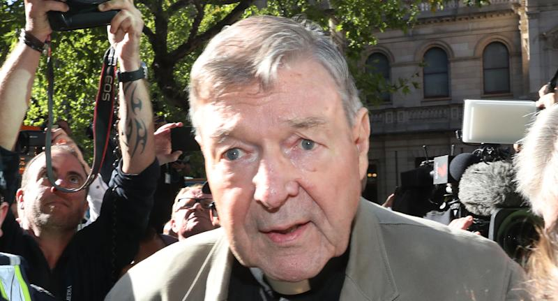 Pictured is Cardinal George Pell outside the Supreme Court.
