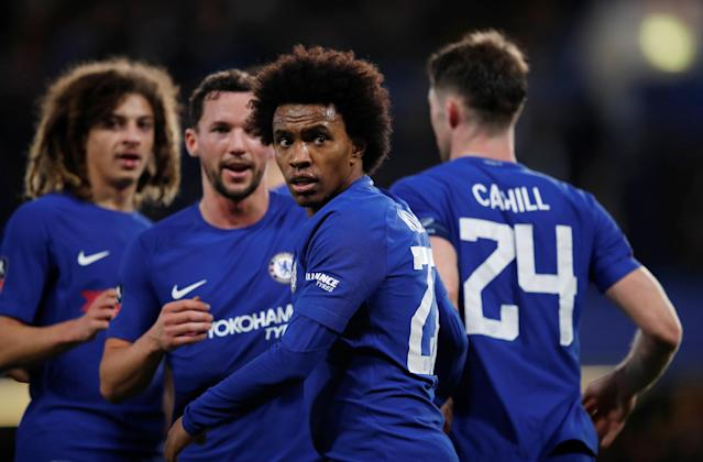 Soccer Football - FA Cup Fifth Round - Chelsea vs Hull City - Stamford Bridge, London, Britain - February 16, 2018 Chelsea's Willian celebrates scoring their third goal with team mates REUTERS/Eddie Keogh
