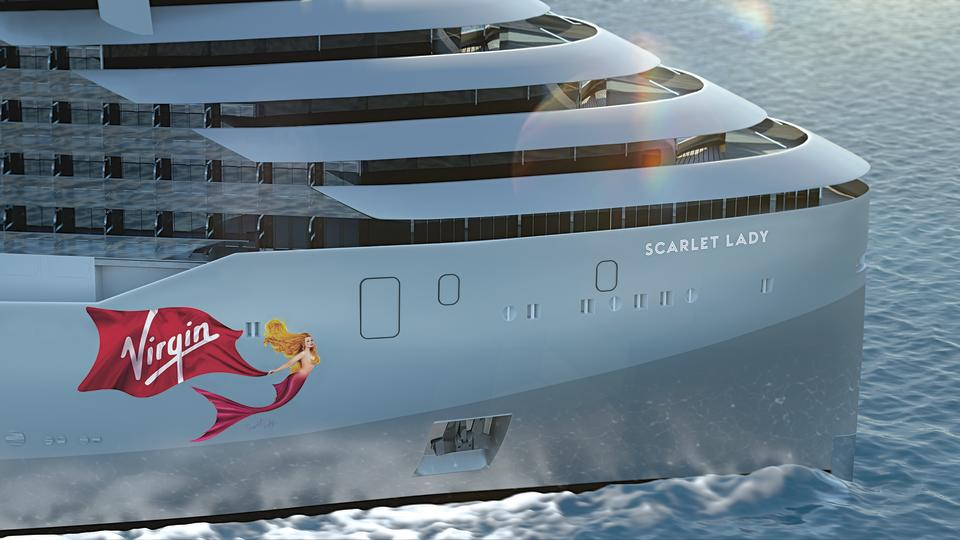 Virgin's first ship, Scarlet Lady, has a yacht look to it. [Photo: Virgin]