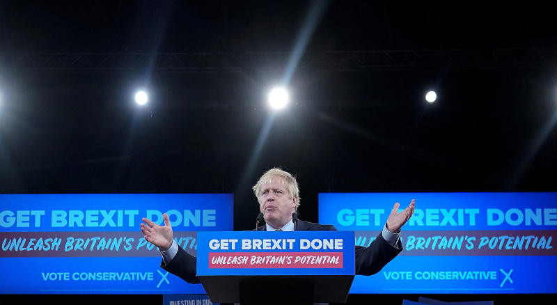 BIRMINGHAM, ENGLAND - NOVEMBER 06: Prime Minister Boris Johnson talks onstage at the launch of the Conservative Party's General Election campaign at the National Exhibition Centre on November 6, 2019 in Birmingham, United Kingdom. Boris Johnson visited HM The Queen earlier today to officially dissolve Parliament before heading to the West Midlands to launch the Conservative Party general election campaign. The British people will go to the polls on December 12th for the first winter election in nearly a century. (Photo by Christopher Furlong/Getty Images)