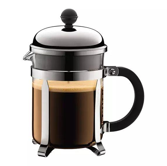 "Impress your guests with this beautifully made <a href=""https://bluebottlecoffee.com/store/bodum-chambord-17oz-french-press"" target=""_blank"">French press</a>."
