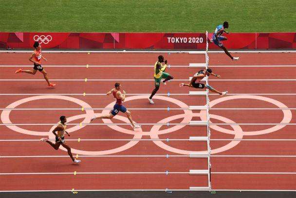 PHOTO: Athletes compete during round one of the Men's 400m hurdles heats on day seven of the Tokyo 2020 Olympic Games at Olympic Stadium on July 30, 2021 in Tokyo, Japan. (David Ramos/Getty Images)