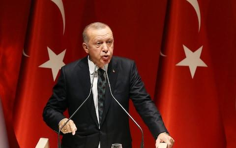 """<span>Recep Tayyip Erdogan said he would """"open the door"""" to Europe for millions of Syrian refugees if the EU called the Turkish operation an """"invasion""""</span> <span>Credit: REX </span>"""