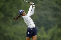 Celine Boutier from France follows through on her tee shot on the ninth hole during the second round of the LPGA Drive On Championship golf tournament at Inverness Golf Club in Toledo, Ohio, Saturday, Aug. 1, 2020. (AP Photo/Gene J. Puskar)