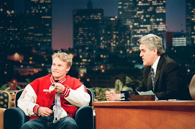 Canadian snowboarder Ross Rebagliati during an interview with host Jay Leno on February 16, 1998. (Photo by: Margaret Norton/NBC/NBCU Photo Bank)