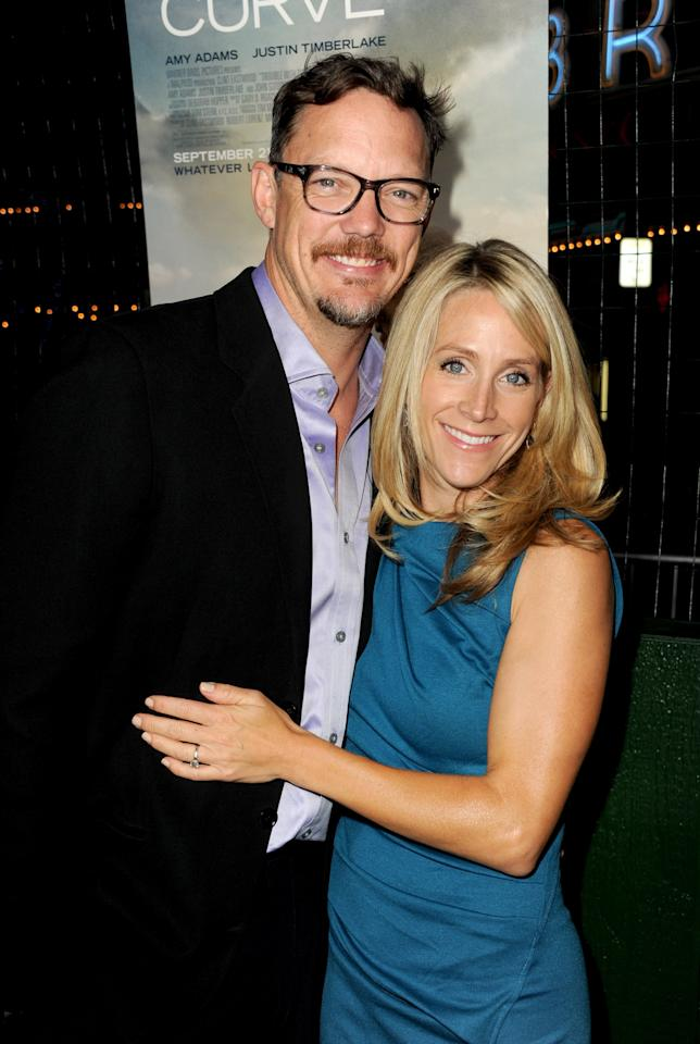 """WESTWOOD, CA - SEPTEMBER 19:  Actor Matthew Lillard and Heather Helm arrive at Warner Bros. Pictures' """"Trouble With The Curve"""" premiere at Regency Village Theatre on September 19, 2012 in Westwood, California.  (Photo by Kevin Winter/Getty Images)"""