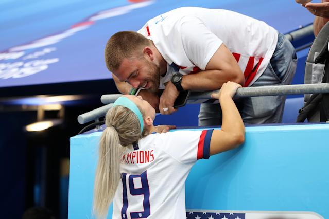 Julie Ertz of the USA celebrates with her husband, NFL player Zach Ertz, following USA's victory in the 2019 FIFA Women's World Cup France Final match between The United States of America and The Netherlands at Stade de Lyon on July 07, 2019 in Lyon, France. (Photo by Elsa/Getty Images)