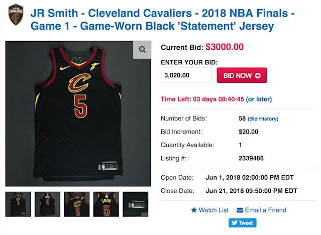 You can own a piece of J.R. Smith's haunted NBA history, provided you've got at least $3,000 to burn. (Screencap via NBA Auctions)