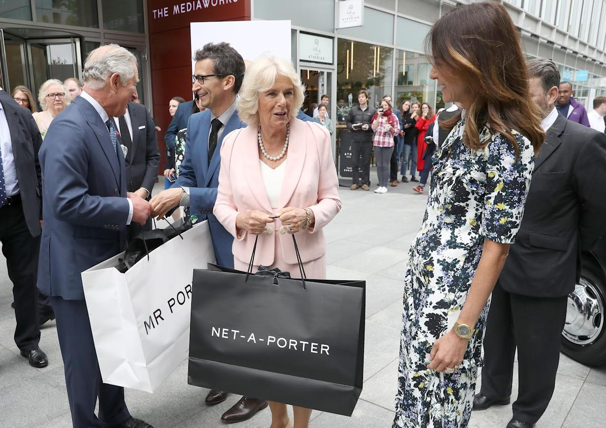 LONDON, ENGLAND - MAY 16: (L-R) Prince Charles, Prince of Wales, Federico Marchetti, CEO YOOX NET-A-PORTER GROUP, Camilla, Duchess of Cornwall, and Alison Loehnis, President of NET-A-PORTER & MR PORTER departing from The Prince Of Wales And Duchess Of Cornwall's visit to the Yoox Net-a-Porter Tech Hub at White City Place on May 16, 2018 in London, England. (Photo by Chris Jackson/Getty Images)